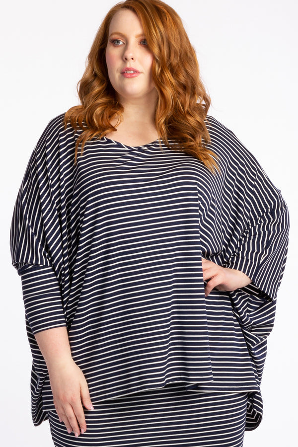 Give Me A Reason Asymmetrical Top - Navy Stripe