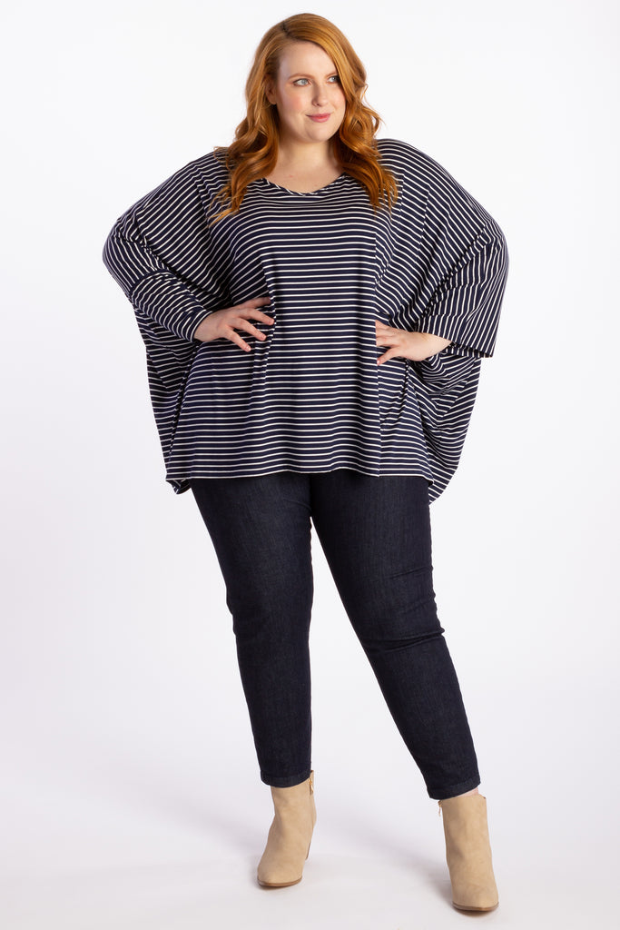 Give Me A Reason Asymmetrical Top - Navy Stripe - Harlow