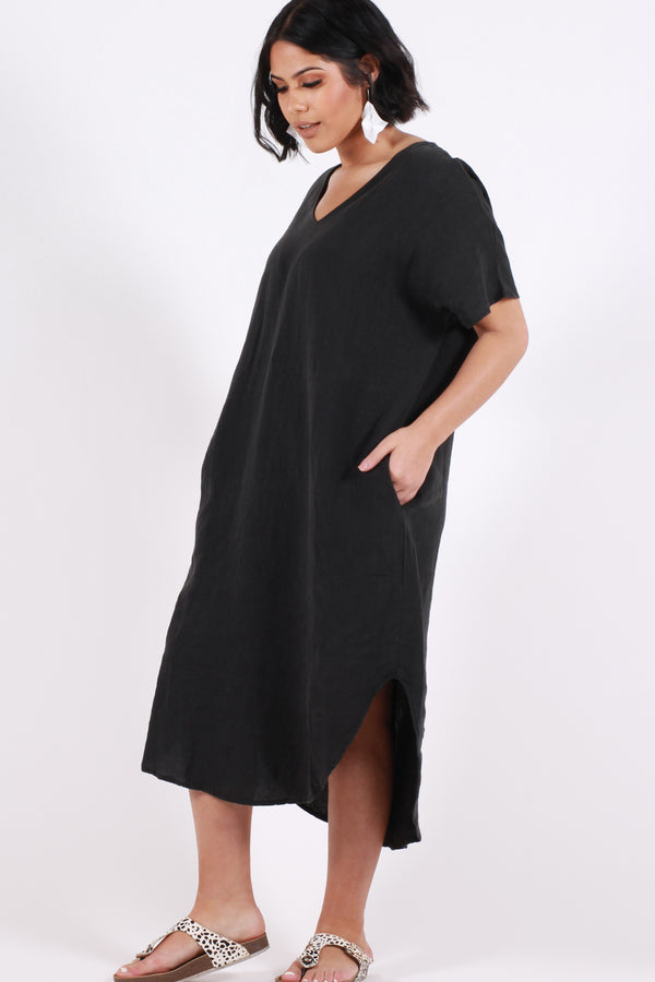 Love To Love You Linen Maxi Dress - Black