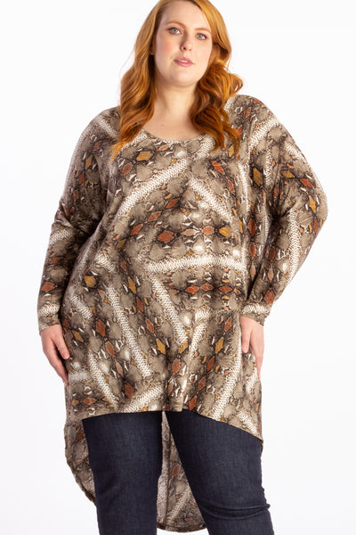 Diva Oversized Hi-Lo Top - Serpent - Harlow