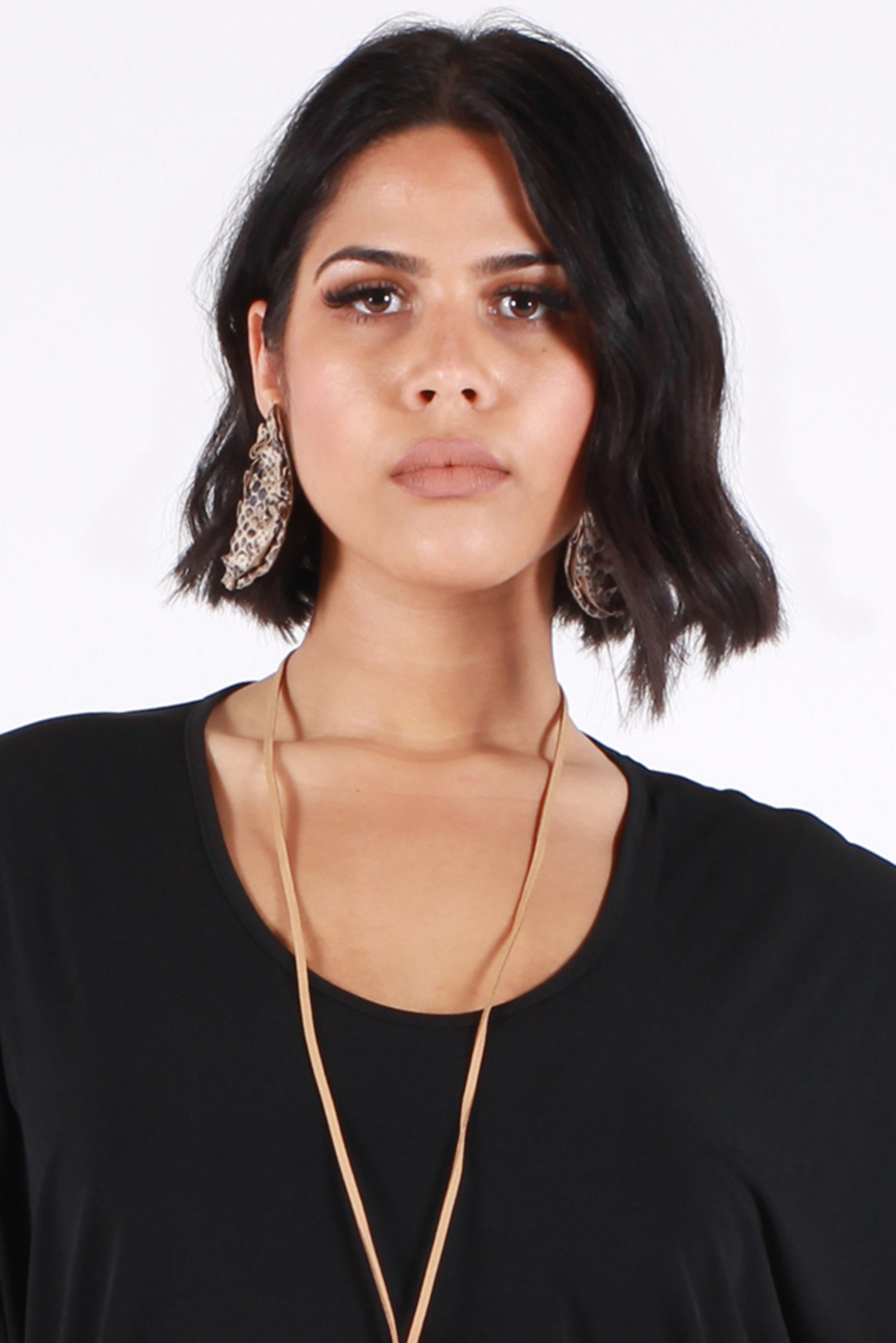 Fire & Rain Pleather Tear Drop Earrings - Cobra - Harlow