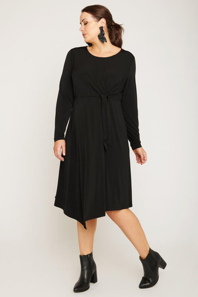 Do You Believe In Magic Knot Front Dress - Black - Harlow