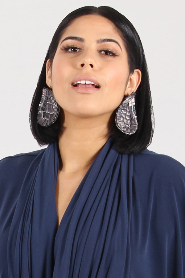 Fire & Rain Pleather Tear Drop Earrings - Python