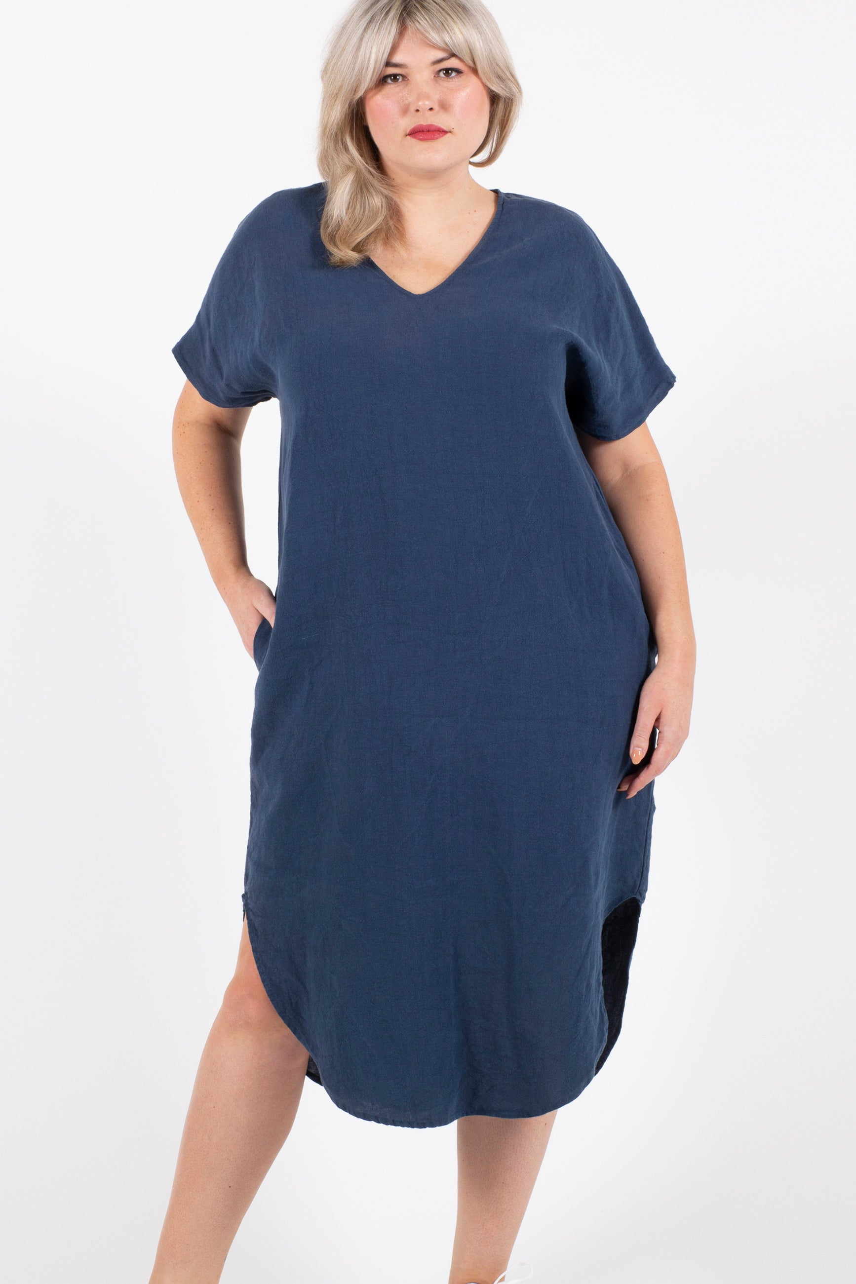 Love To Love You Linen Maxi Dress - Blue Moon