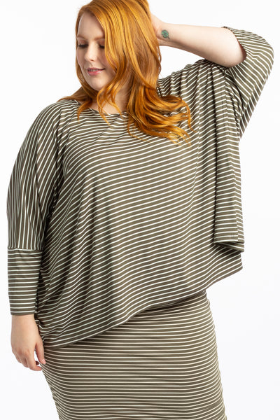 Give Me a Reason Asymmetrical Top - Khaki Stripe - Harlow