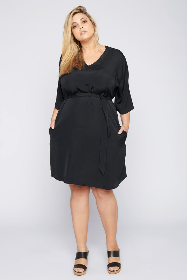 Rock with You Kimono Sleeve Dress - Black