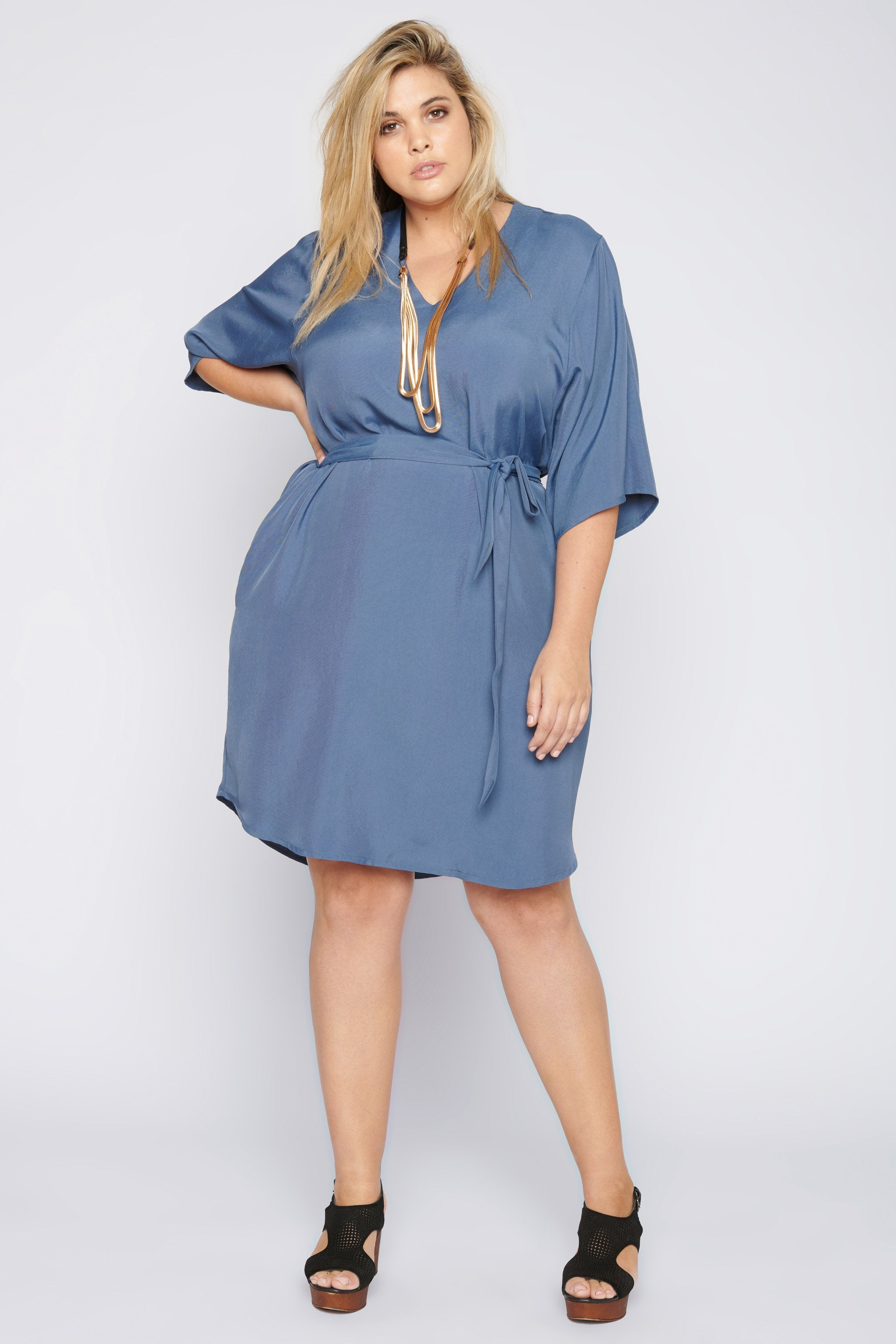 Rock with You Kimono Sleeve Dress - Blue