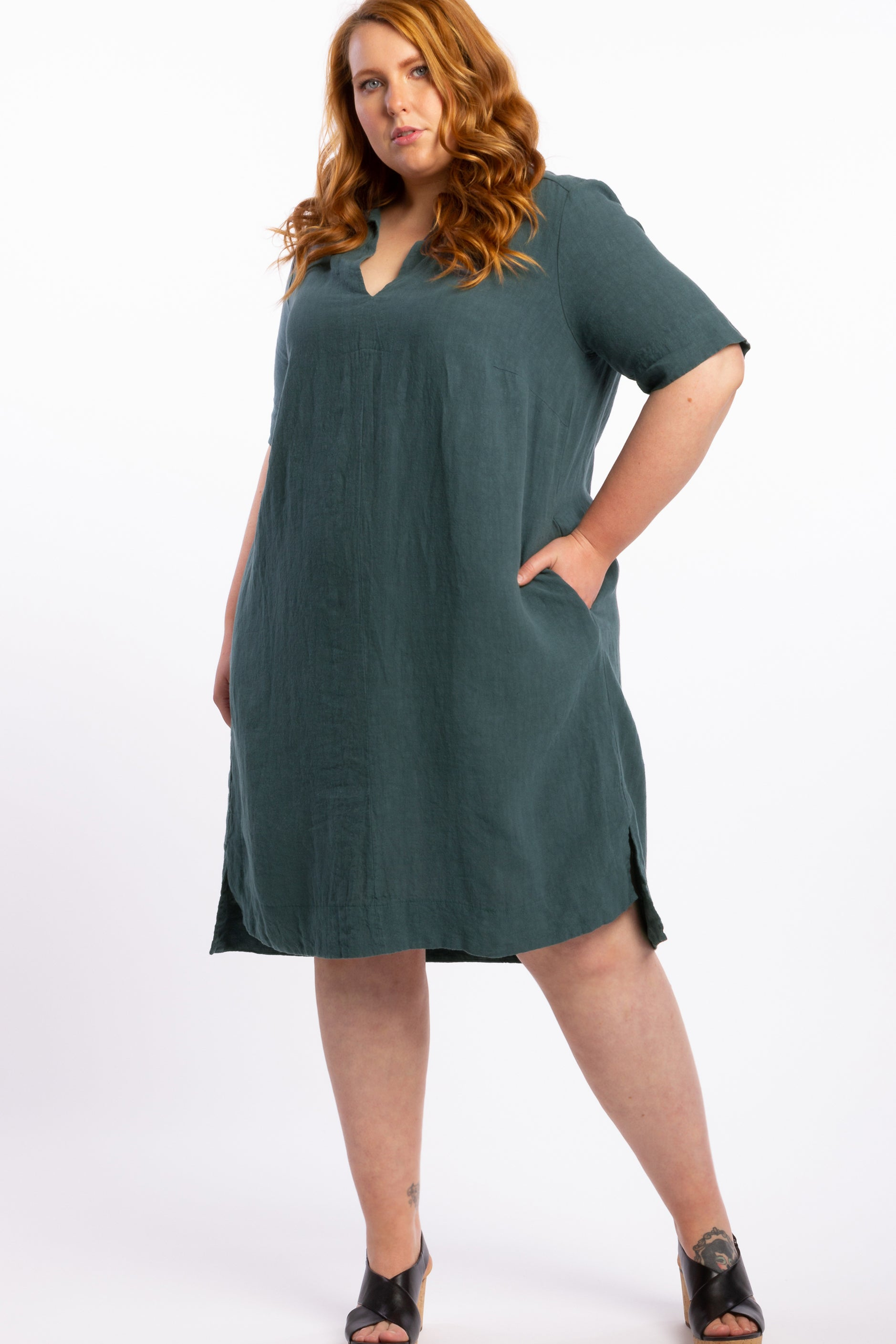Holiday In The Sun Linen Dress - Steel