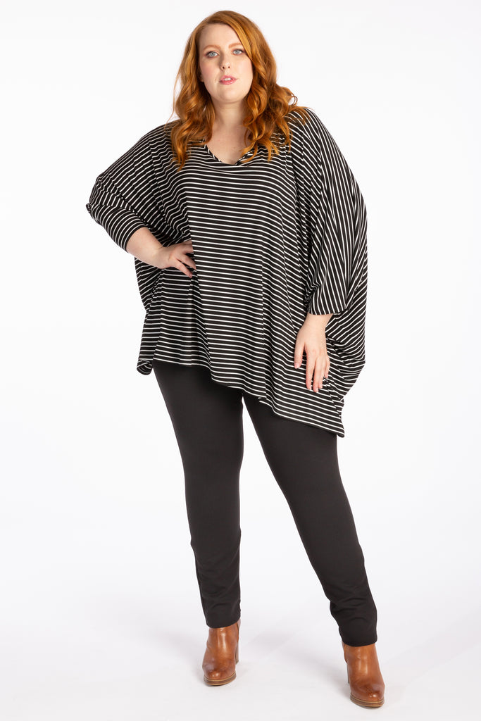 Give Me A Reason Asymmetrical Top - Black Stripe - Harlow