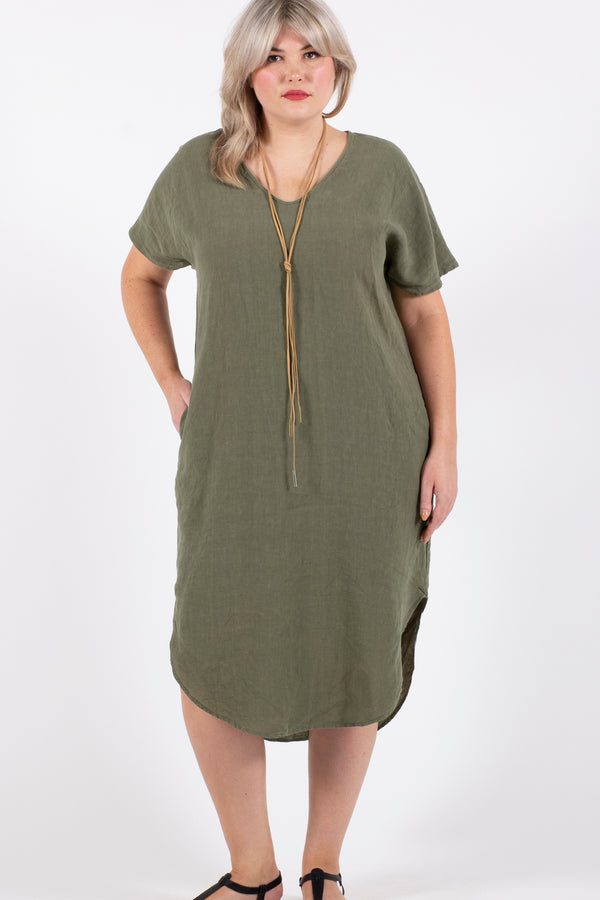 Love To Love You Linen Maxi Dress - Khaki