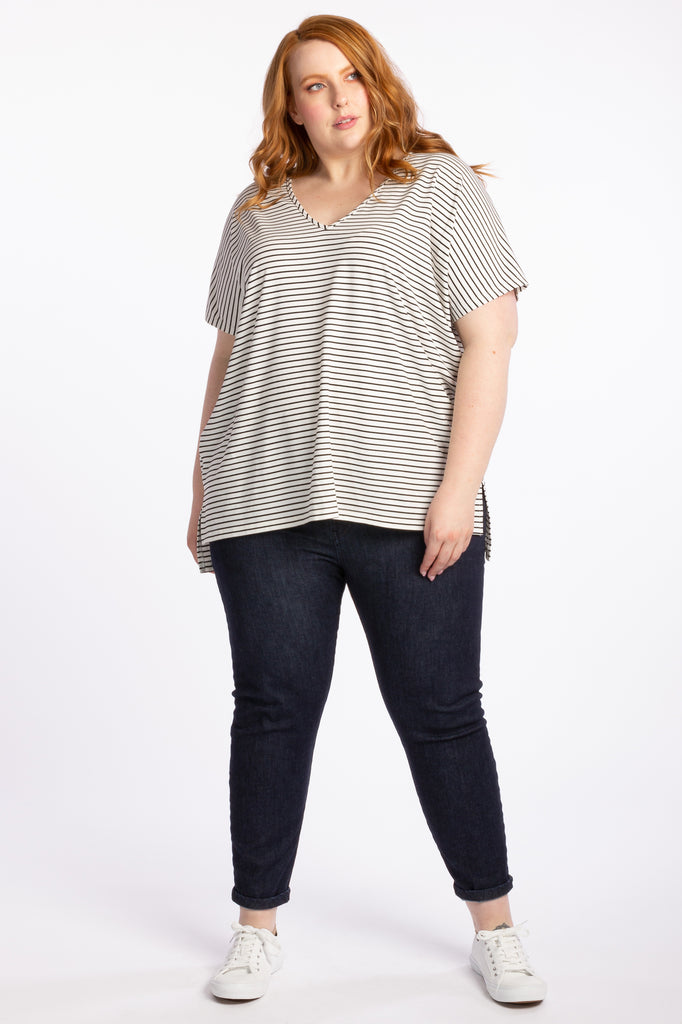 Right By Your Side Tee - White Stripe - Harlow