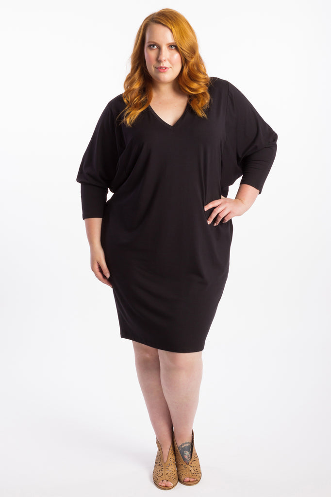 Rebel Yell Batwing Dress - Black - Harlow