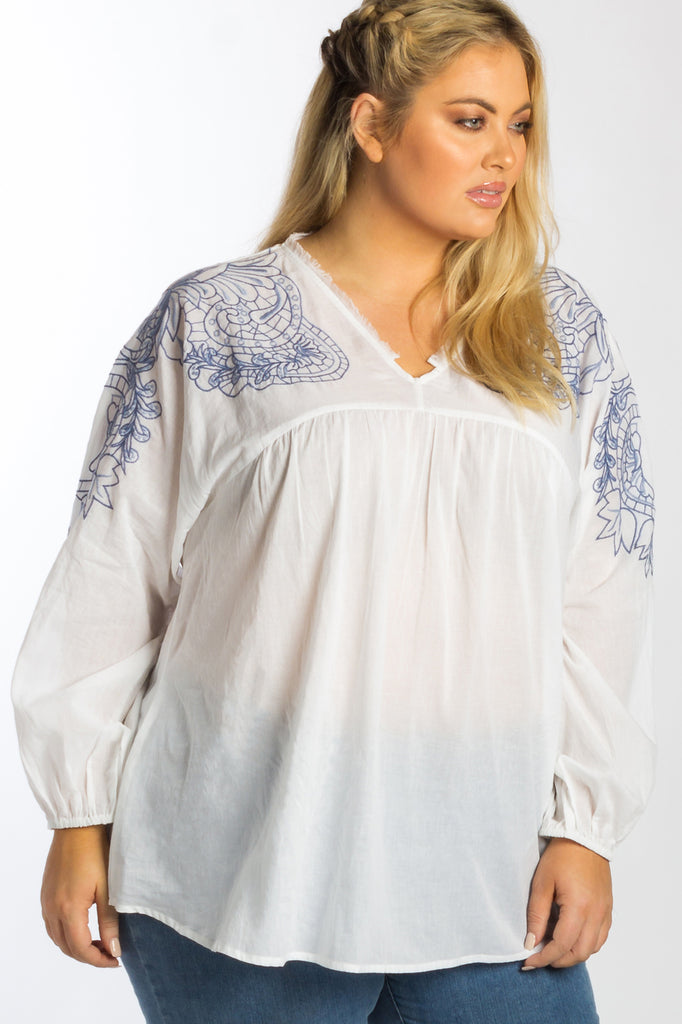 Jaipur Embroidered Smock Top - White - Harlow