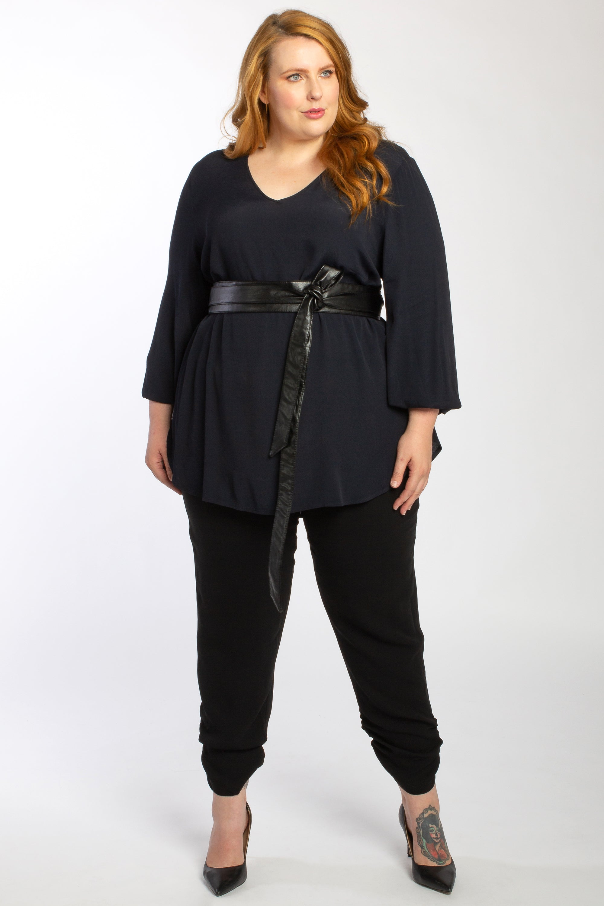 Wrap It Up Obi Belt - Midi - Black Vegan Leather