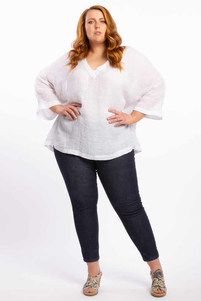 That's Alright Linen Top - White - Harlow