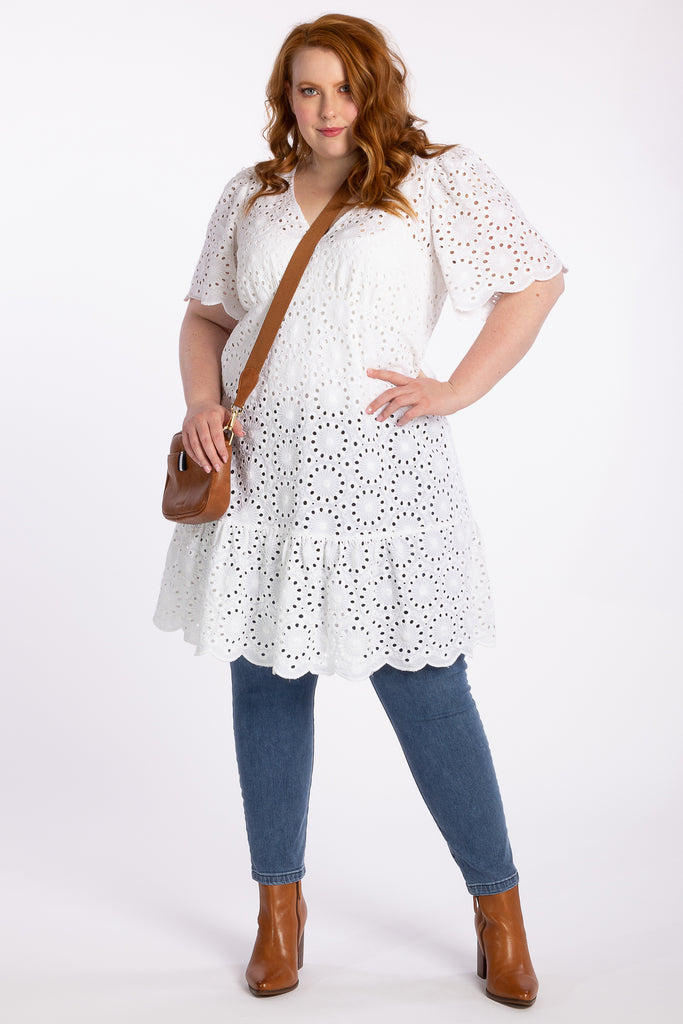 Spirit In Flight Broidery Dress - White - Harlow
