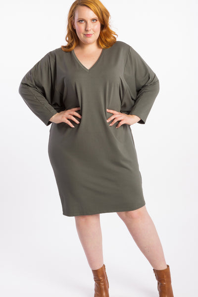 Rebel Yell Batwing Dress - Khaki - Harlow