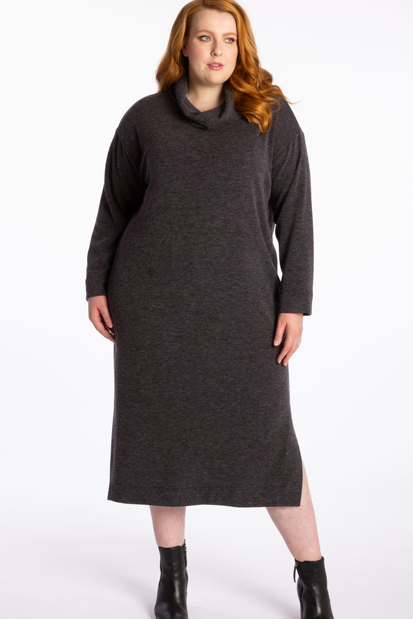 Hazy Shade Of Winter Knit Dress - Charcoal