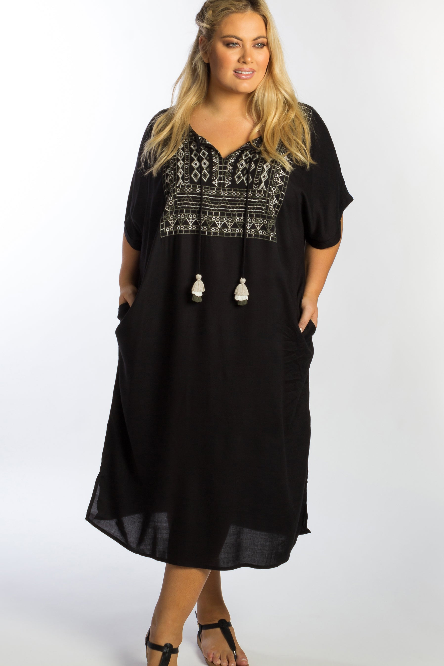 Jaisalmer Embroidered Bib Maxi - Black