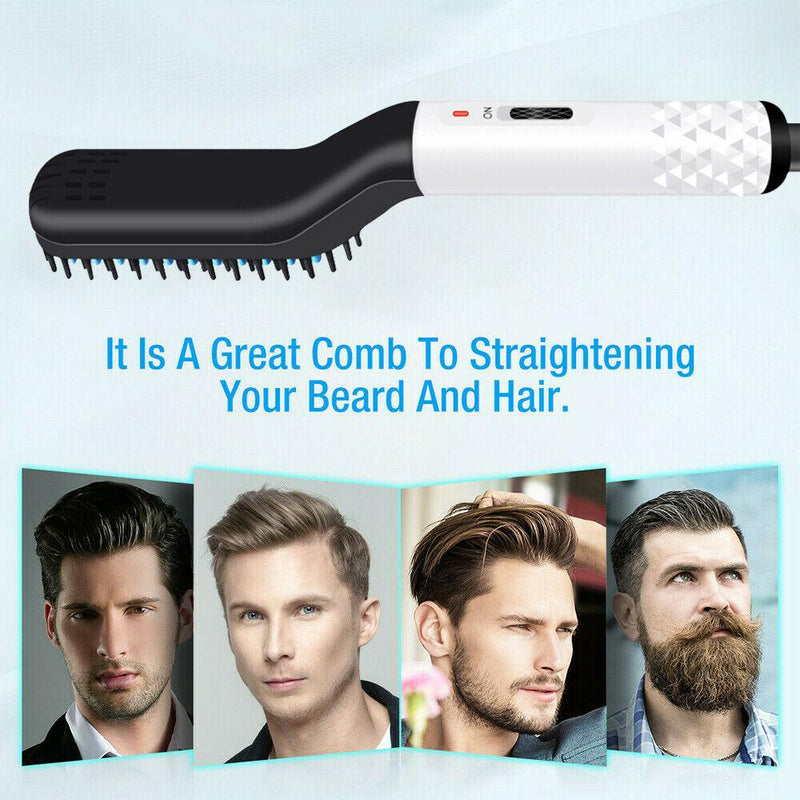 Multifunctional Electric Beard Straightener Hot Comb Men Gift SP