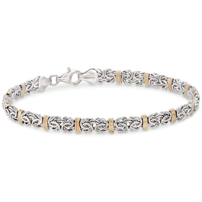 Two Toned 5th Avenue Modern Byzantine Unisex Bracelet in 14K Gold