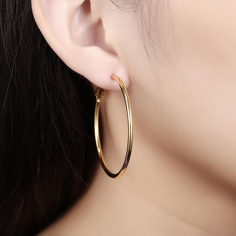 42mm Round Hoop Earring in 18K Gold Plated
