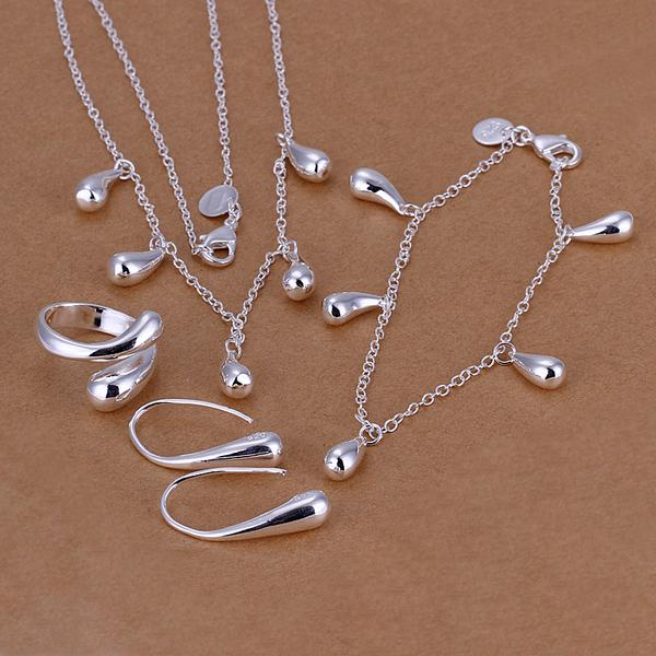 4 Piece Waterdrop Jewelry 18K White Gold Plated Set in 18K White Gold