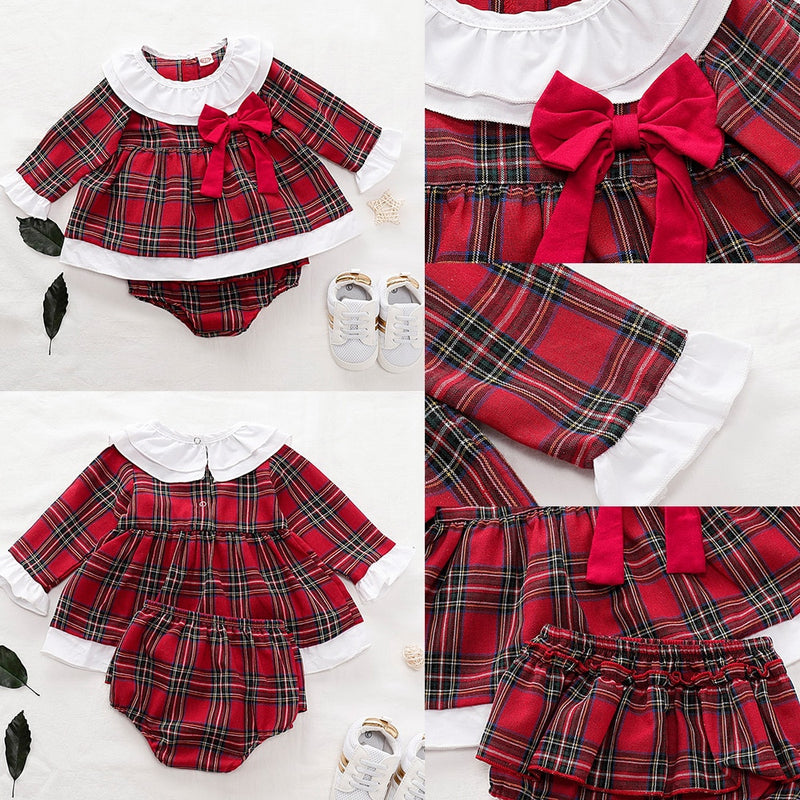 Newborn Baby Girls Clothes Ruffles Long Sleeve Red Plaid Dress Tops