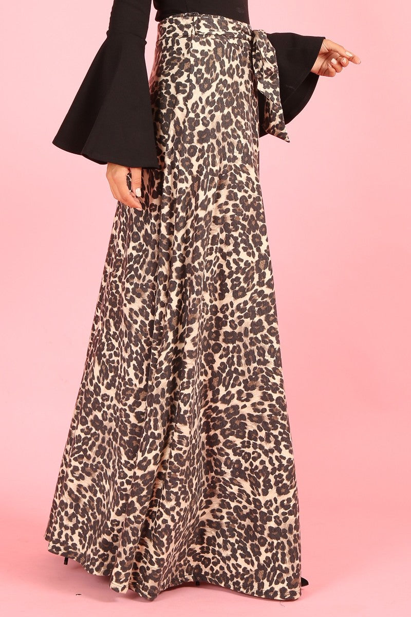 1214 Cheetah, high waist, a-line maxi skirt, loose fit, waist tie belt
