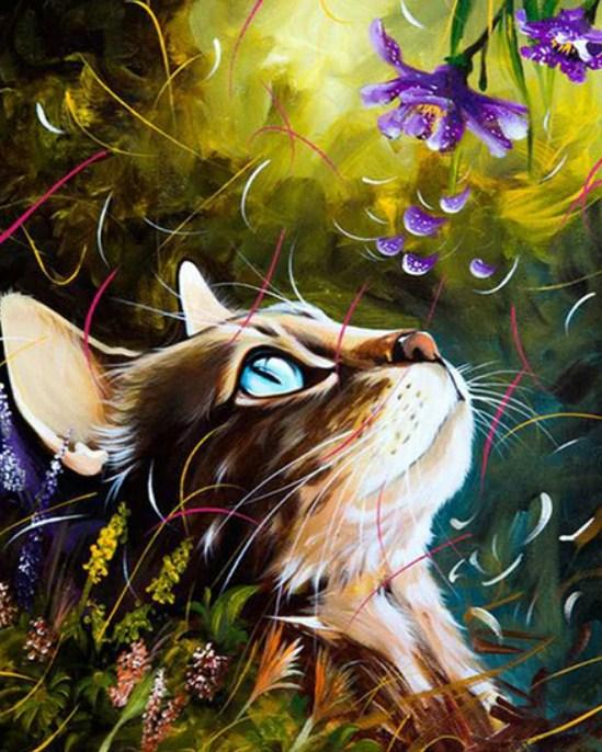 Cute Cat & Flower Petals Diamond Painting Kit