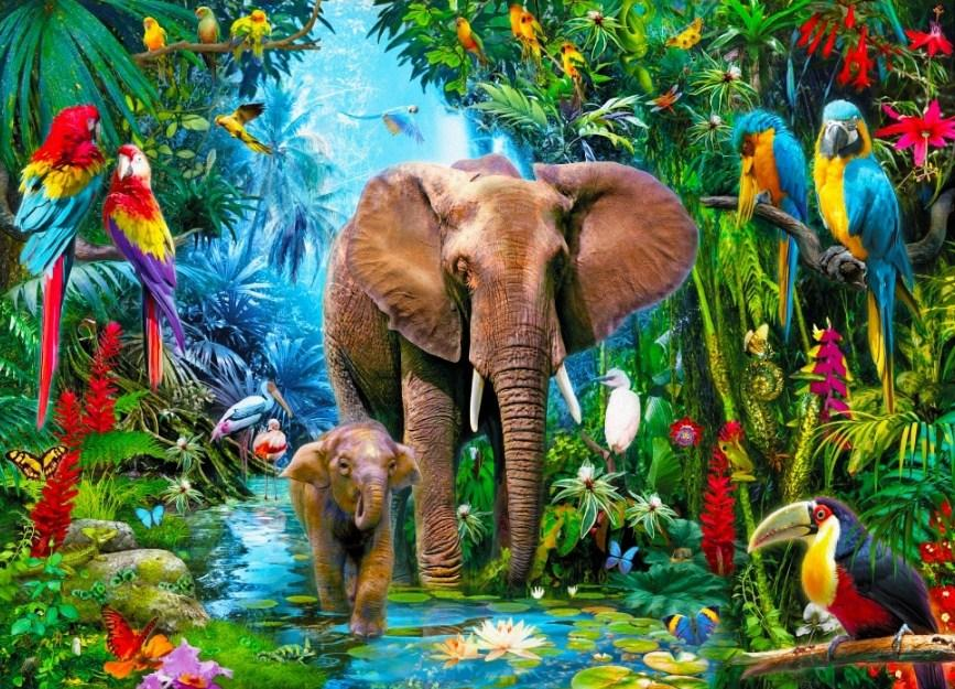 Elephants & Parrots Diamond Painting Kit