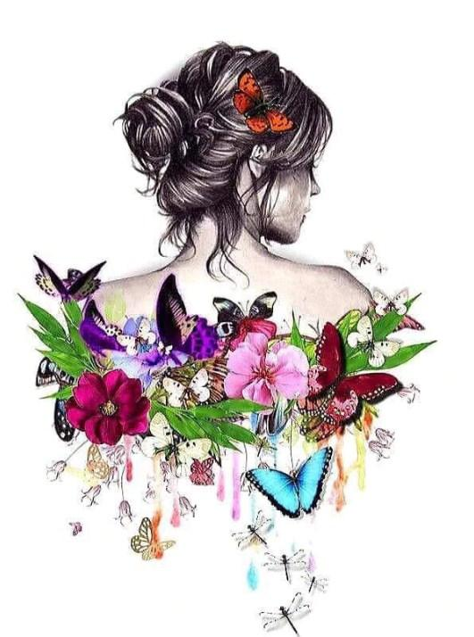 Flowers & Butterflies on her Back Diamond Painting