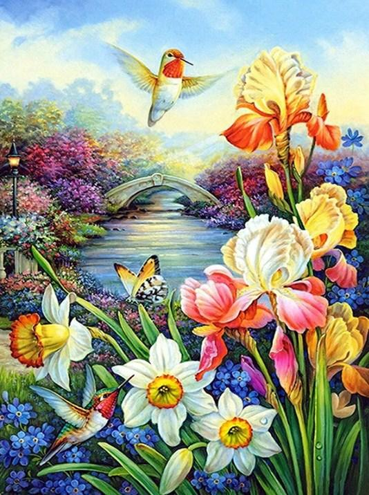 Flowers & Humming Birds Paint by Diamonds