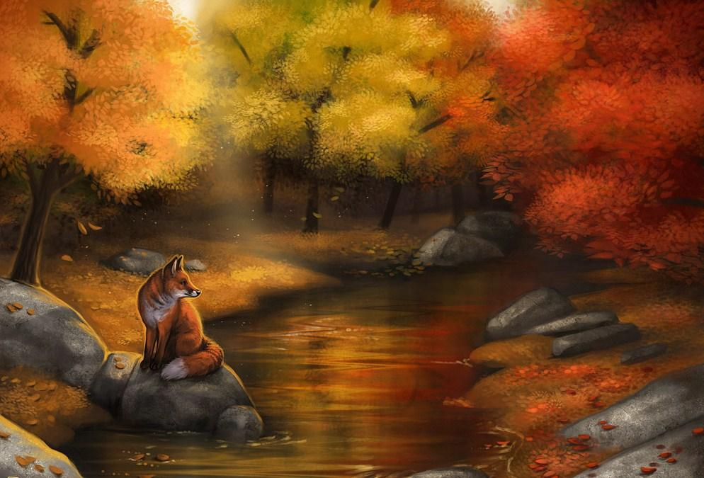 Fox in Autumn Forest Paint by Diamonds