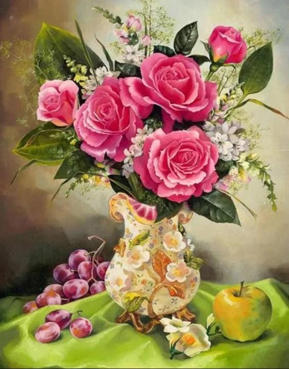 Grapes, Apple & Pink Rose Vase Diamond Painting