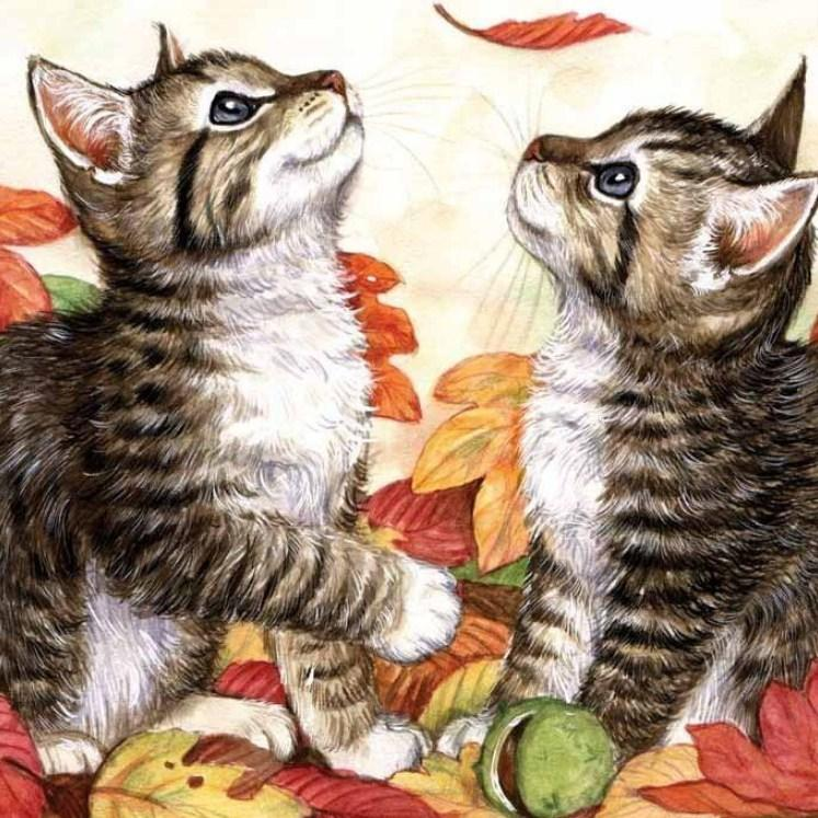Kittens & Autumn Leaves Diamond Painting Kit