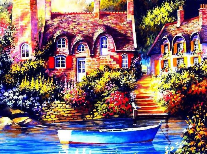 Lake Front House & Boat Diamond Painting