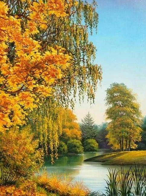 Lakeside Yellow Forest Diamond Painting Kit