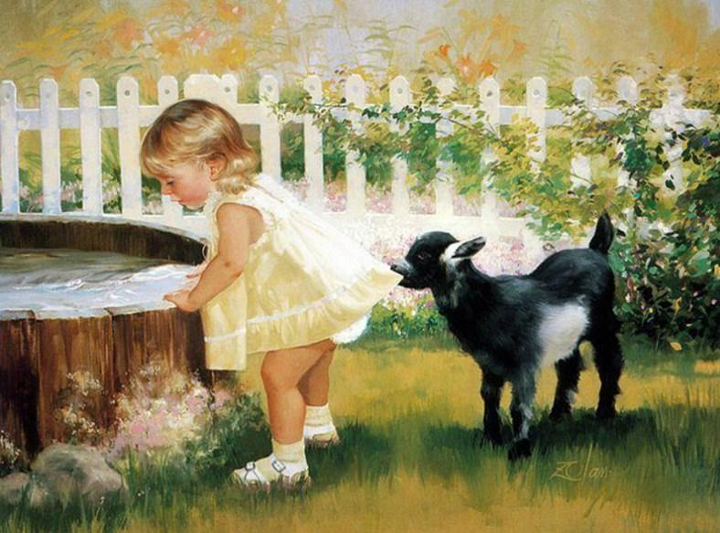 Little Girl with Lamb Diamond Painting Kit