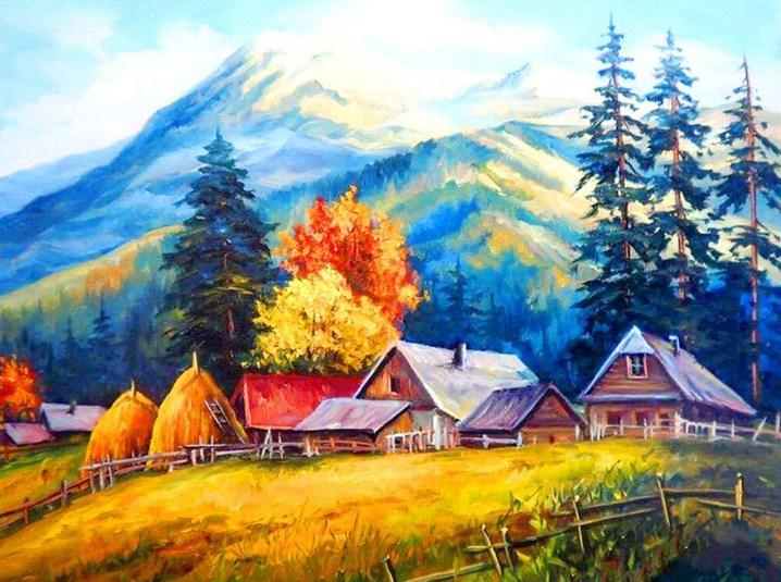 Mountains & Houses Paint by Diamonds
