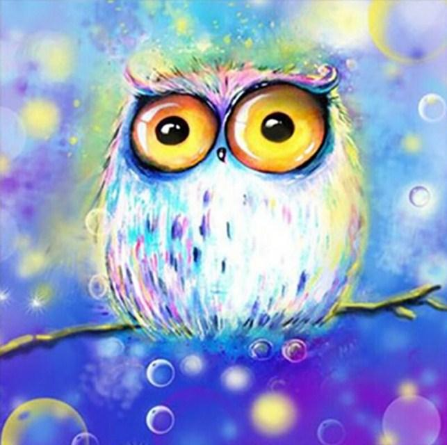 Owl with Big Yellow Eyes Diamond Painting