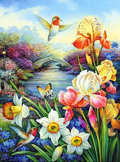 Humming Birds & Flower Diamond Painting