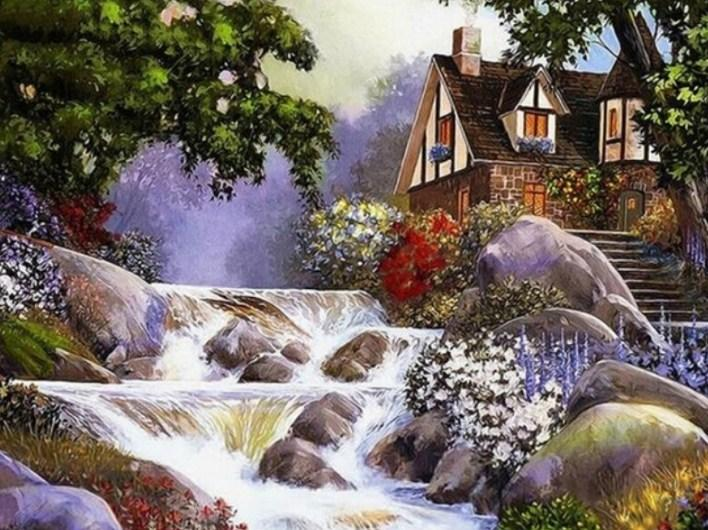 Waterfall & Beautiful House Diamond Painting