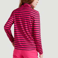 Stripe Half Zip Ski Fleece | Pink With Black