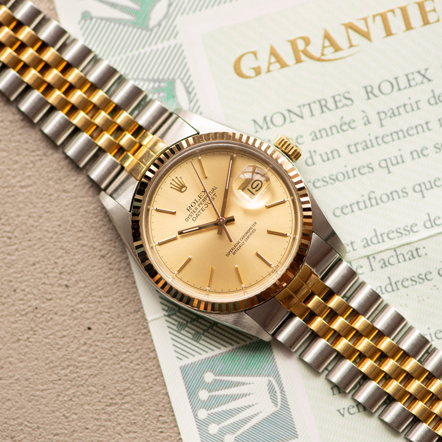 Rolex Datejust 16013 Gold & Steel w/ Guarantee Papers