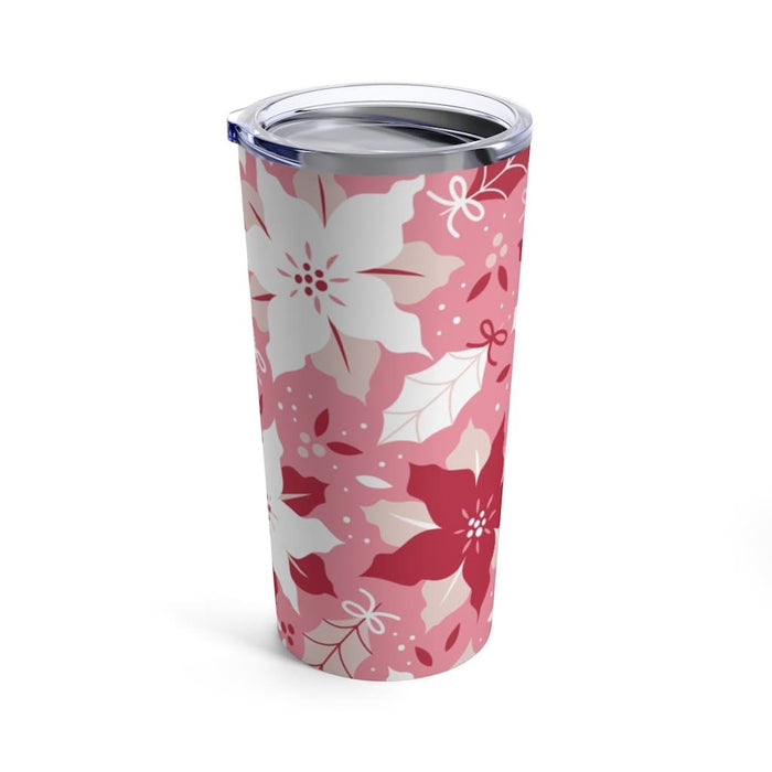 Pink Poinsettia 20oz Stainless Steel Tumbler - TumblerMountainGoods