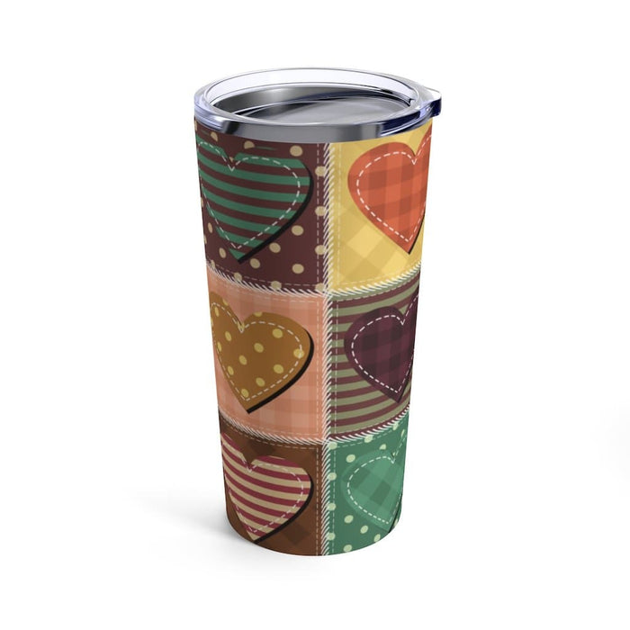 Brown Patch Hearts 20oz Stainless Steel Tumbler - TumblerMountainGoods