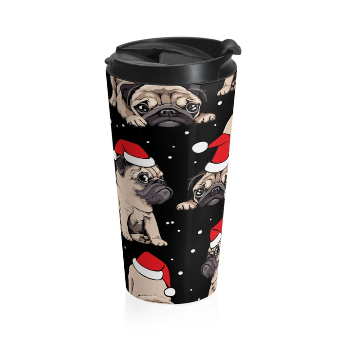 Pug Christmas 15oz Stainless Steel Tumbler - TumblerMountainGoods