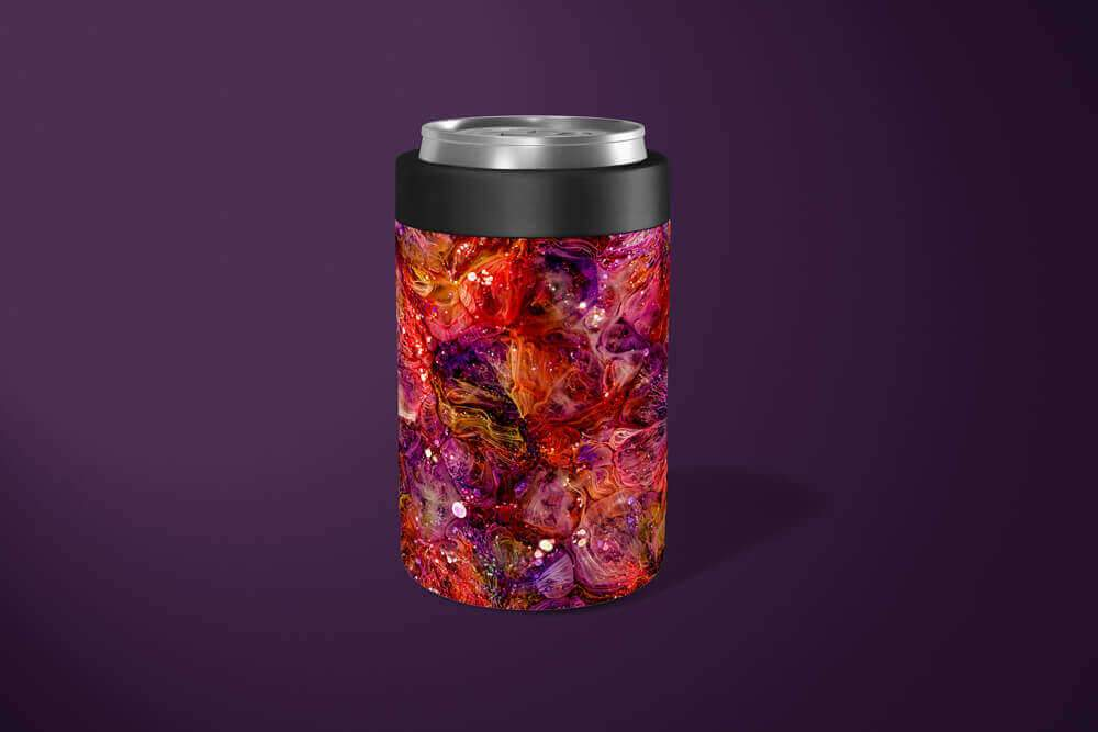 Pink Abstract Can Holder: Insulated Beer Can Holder - TumblerMountainGoods