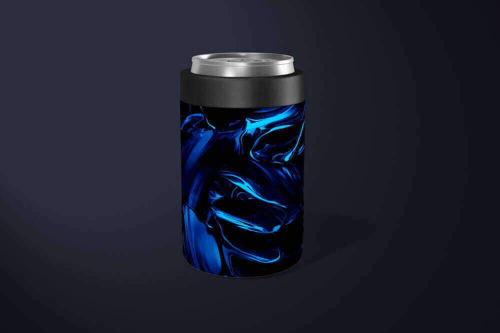 Abstract Blue Satin Can Holder: Insulated Beer Can Holder - TumblerMountainGoods